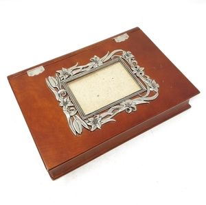 Vintage Brown Wooden Album Cover Holder Keepsakes